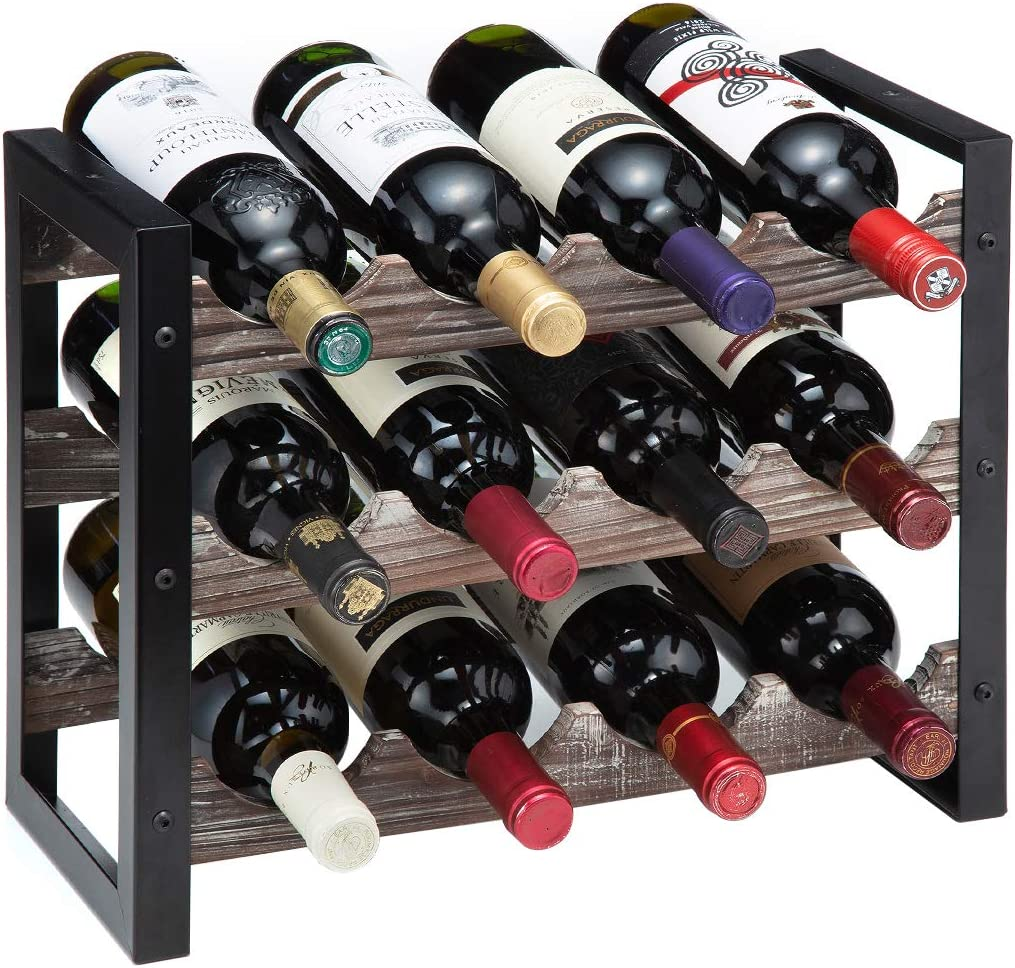 J JACKCUBE DESIGN Rustic Wine Rack Freestanding Floor 3 Tier Stackable Display Storage for Counter-top 12 Glass Bottles Holder Liquor Shelf with Black Metal Frame - MK521A(Rustic Wood)