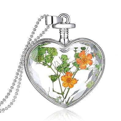 Jiayiqi Women Fashion Dry Flower Love Heart Glass Bottle Pendant Necklace Forget Me Not vEbFcrFyYk