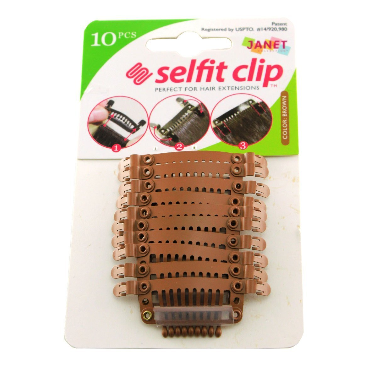 Janet Collection Selfit Clip 10pcs Hair Clips for Hair Extensions (Black) Janet Collcetion