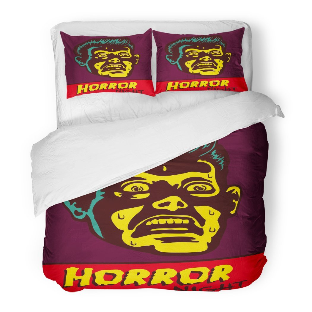 SanChic Duvet Cover Set Horror Night Halloween Party Movie Event Terrified Vintage Man Face Afraid Something Creepy Decorative Bedding Set Pillow Sham Twin Size