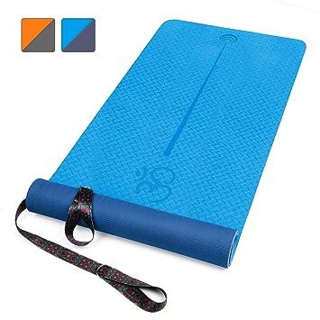 XGEAR Esterilla Yoga Antideslizante, Alfombrilla TPE de Yoga, Esterilla de Pilates, Colchoneta de Deporte con Correa de Hombro 183cm*61 * 0,6cm