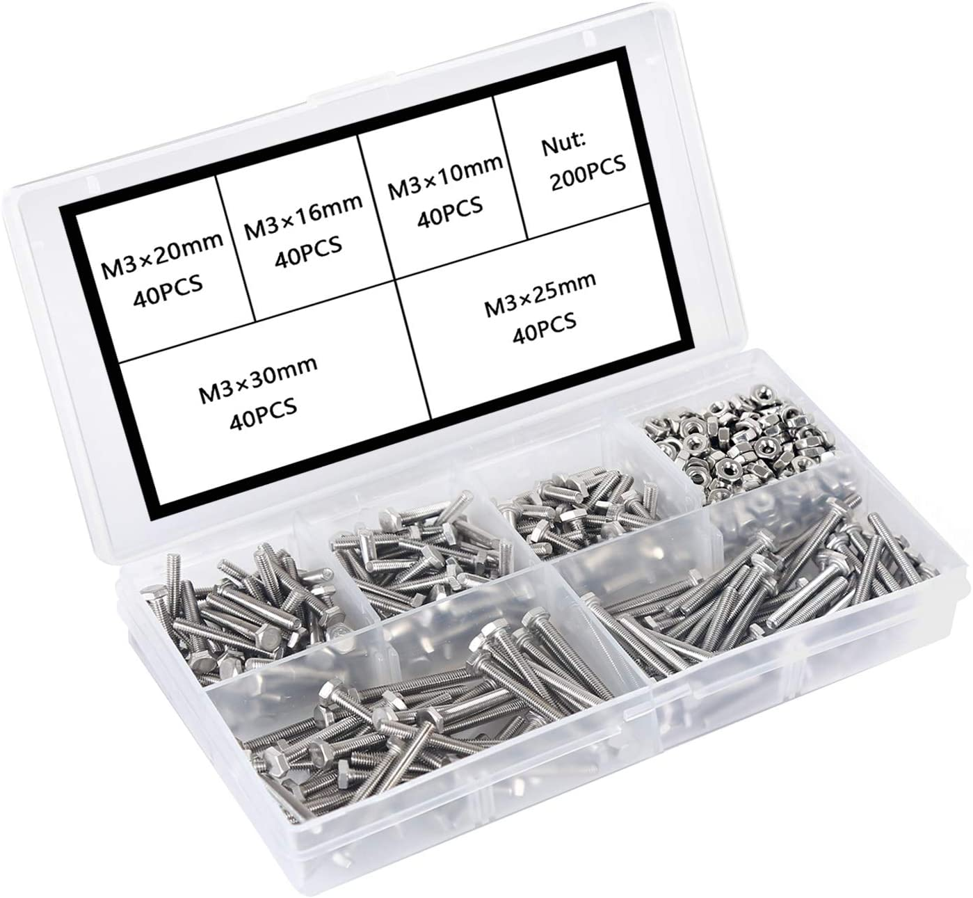 Hex Head Cap Hexagon Bolts and Nuts Assortment Set Kit with Storage Box M6 Nuts and Bolts 304 Stainless Steel Screws Assorted Metric Kit