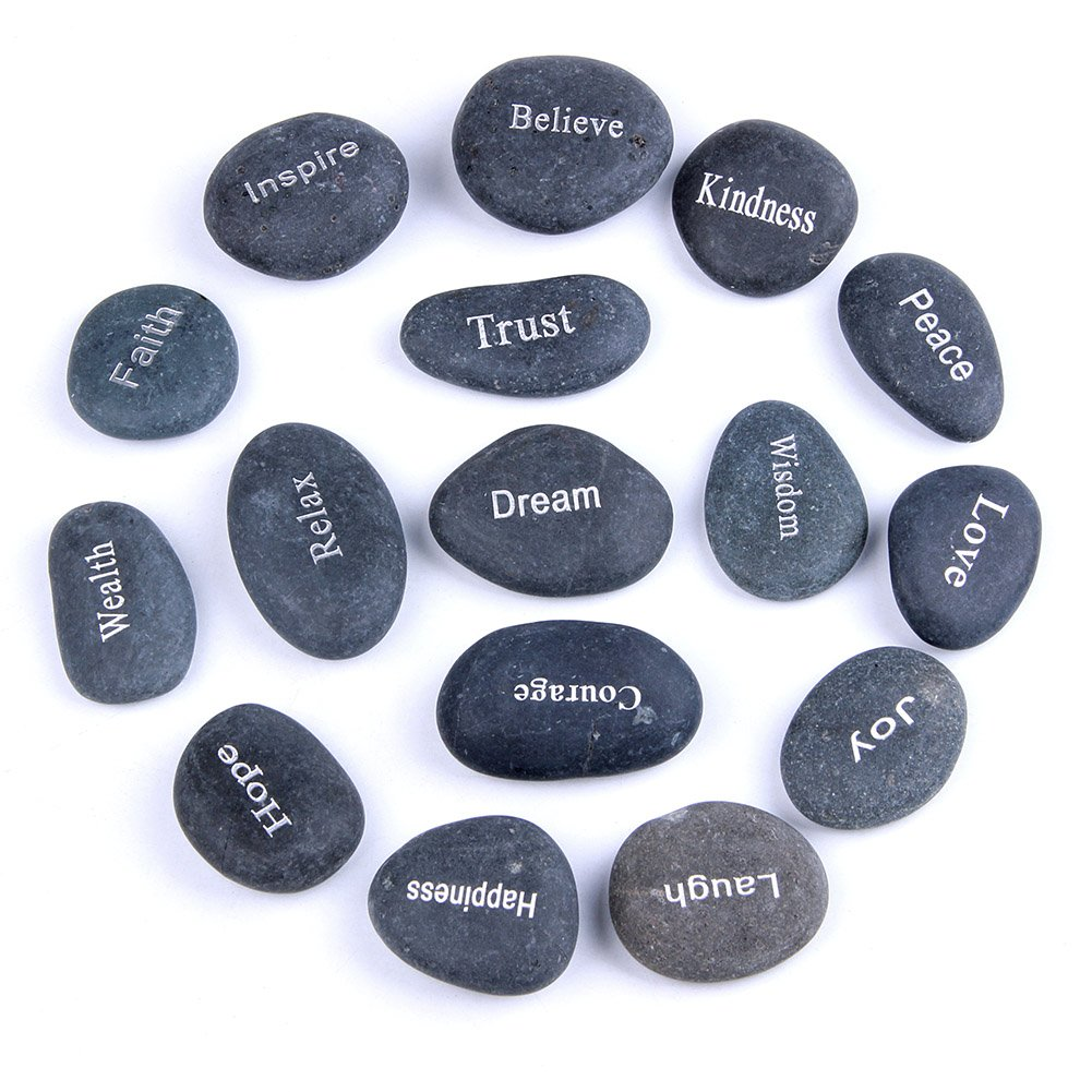 TGS Gems Engraved Inspirational Bulk Faith Black Stones(16 Different Words) by TGS Gems