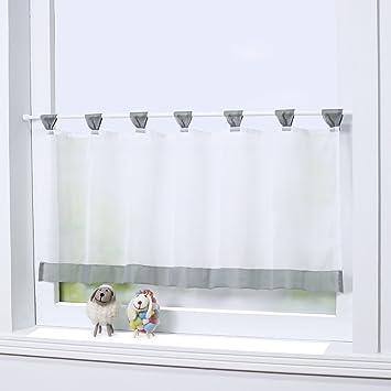 Hochwertig Joyswahl Bistrogardine Voile Schlaufen Scheibengardine U0026quot;Miau0026quot;  Küchen Transparenter Vorhang HxB 45x90cm ...