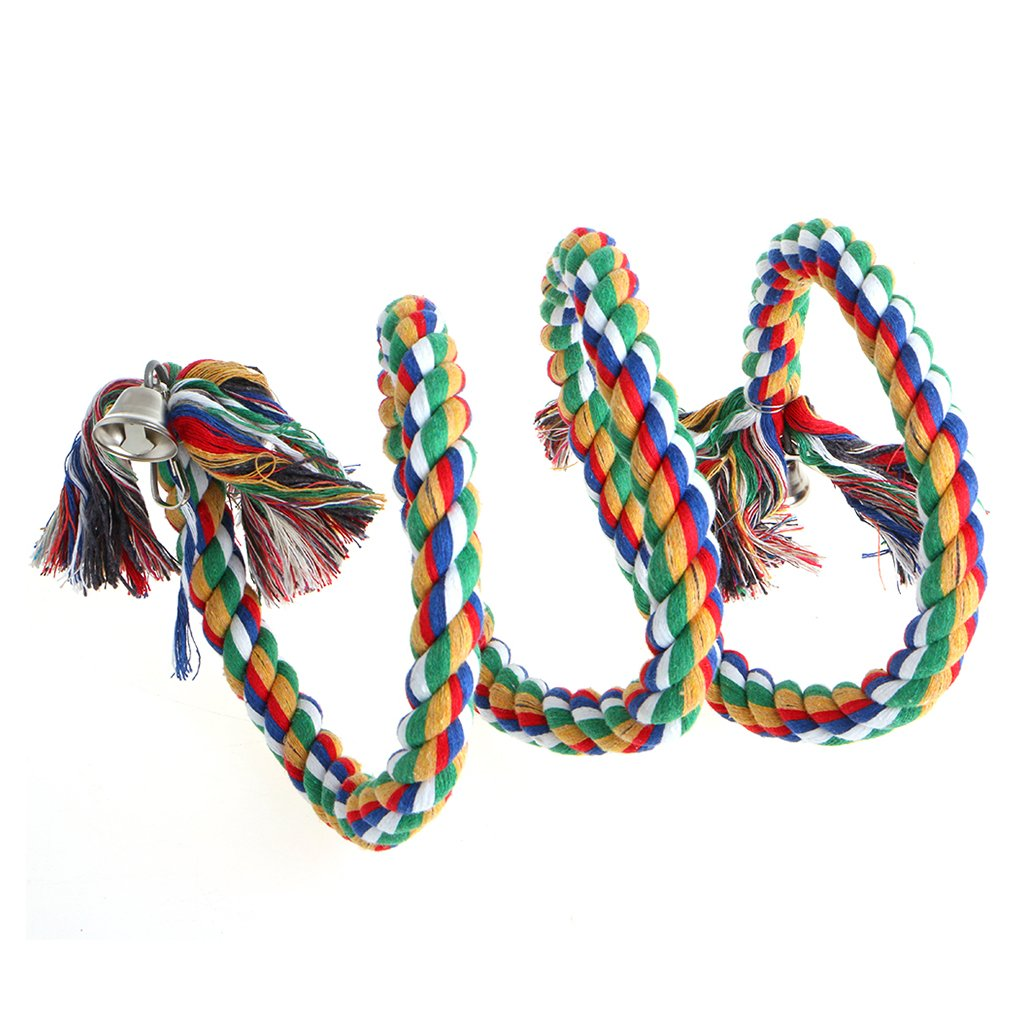 Qiman Parrot Colorful Spiral Cotton Rope Bird Perch Chew Toy for Parrot Budgies Ringnecks Parakeet Cockatiels Conure Lovebird Finch African Greys Cockatoo Cage Swing with bell 1.5M