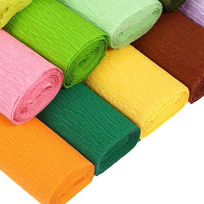 WOWOSS 6 Pcs Colorful Crepe Paper Rolls 8.2ft Length x 20 inch Width Handmade Crinkled Paper for Wedding Birthday Party Home Shop Decoration