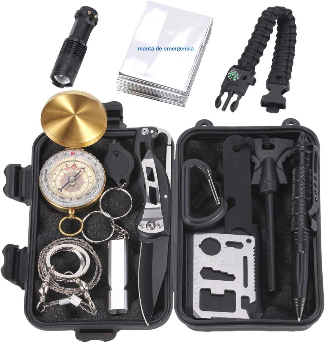 Homvik Kits de Supervivencia 14 en 1 multifuncional Kits Tácticos con Navaja Linterna Manta de Emergencia y Pulsera de Paracord para Acampada Senderismo Excursión Montañismo Viaje al Aire Libre