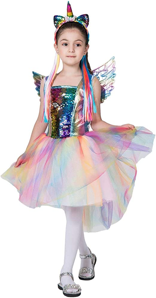Sici Disfraz de Rainbow Unicorn Kids Disfraz de Princesa para niña ...