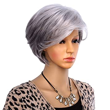 Amazon.com   Women Short Wigs for Old Women Synthetic Grey Hair Straight  Style Olded Wig   Beauty 2a3a31a3872f