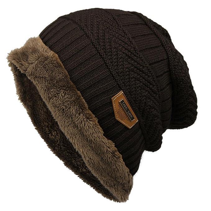 OYTRO Women Men Fashion Fleece Contrast Color Beanie Knitted Warm Winter Hats & Caps