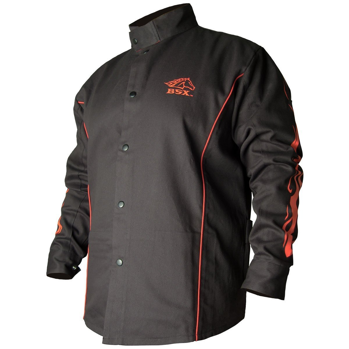 BLACK STALLION BSX® FR Welding Jacket - Black w/Red Flames - MEDIUM Revco BX9C-MD