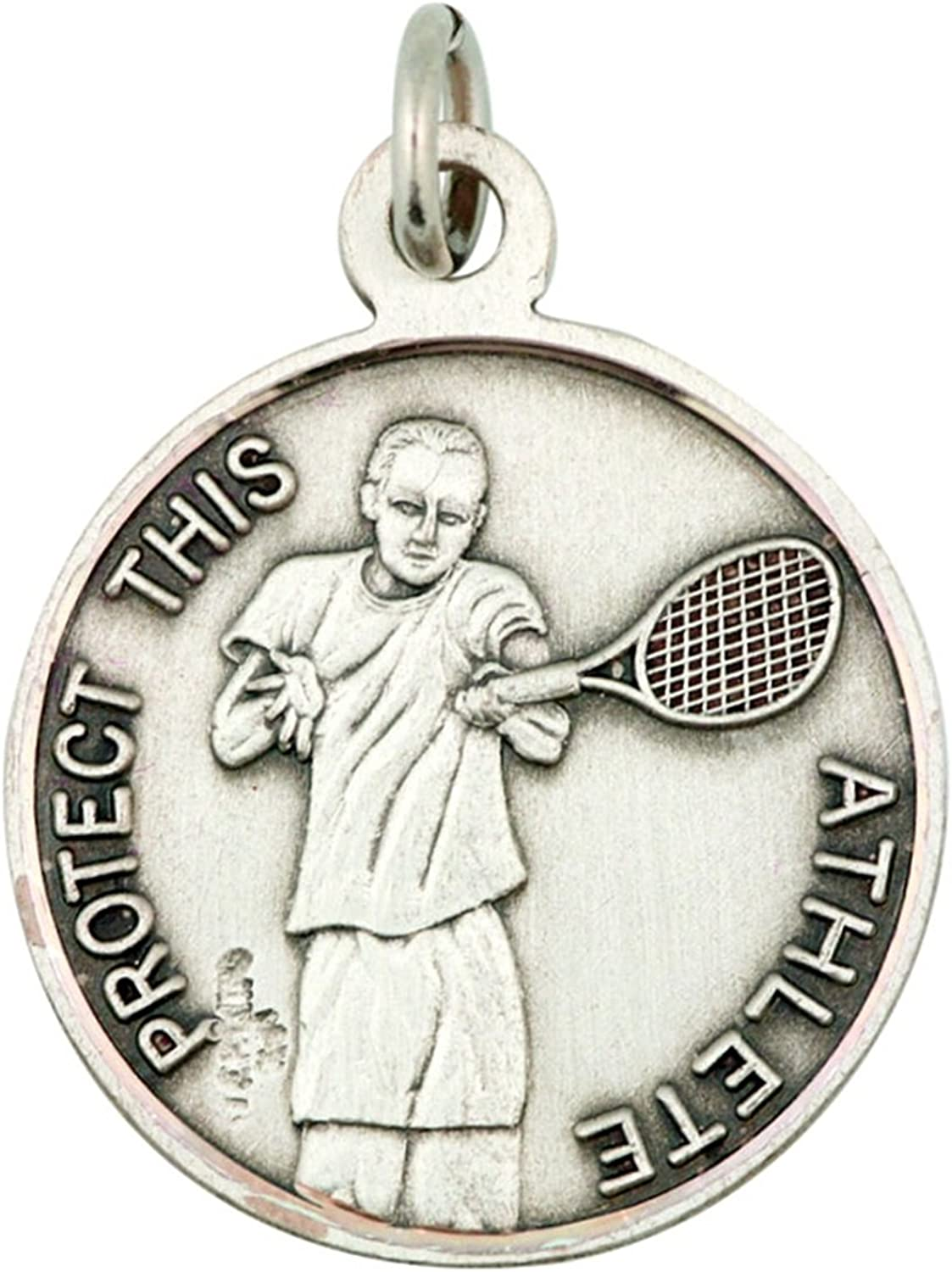 CHRISTOPHER PROTECT US for Tennis Medal Pendant Charm Sterling Silver ST