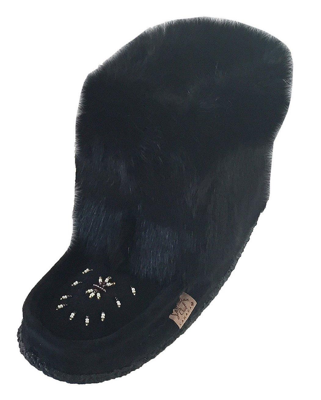 Laurentian Chief Tsar Short Black Rabbit Fur Beaded Suede Mukluks (10)