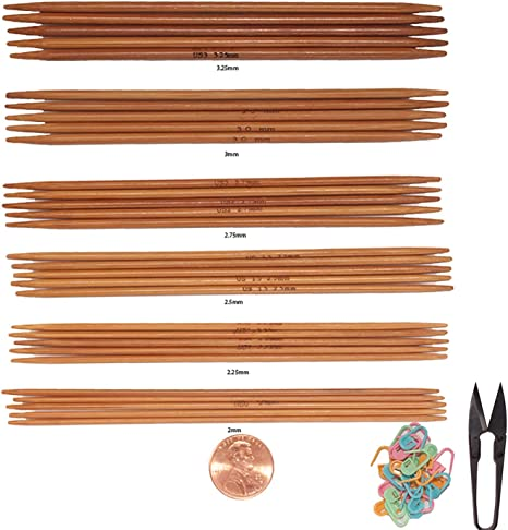 Knitzy Carbonized-Complete Set ~15 cm Double Point Knitting Needles Bamboo 6/""