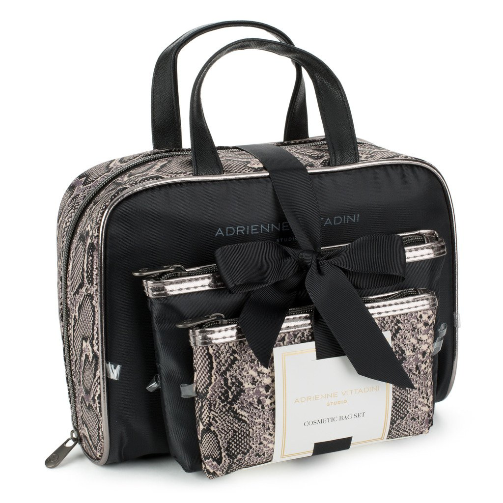 ed5128f3eaaa Amazon.com   Adrienne Vittadini Set of 3 Satchel Cosmetic Case (Black    White Floral)   Beauty
