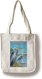 product image for Lantern Press Blue Herons in Grass - Apalachicola, Florida (100% Cotton Tote Bag - Reusable)