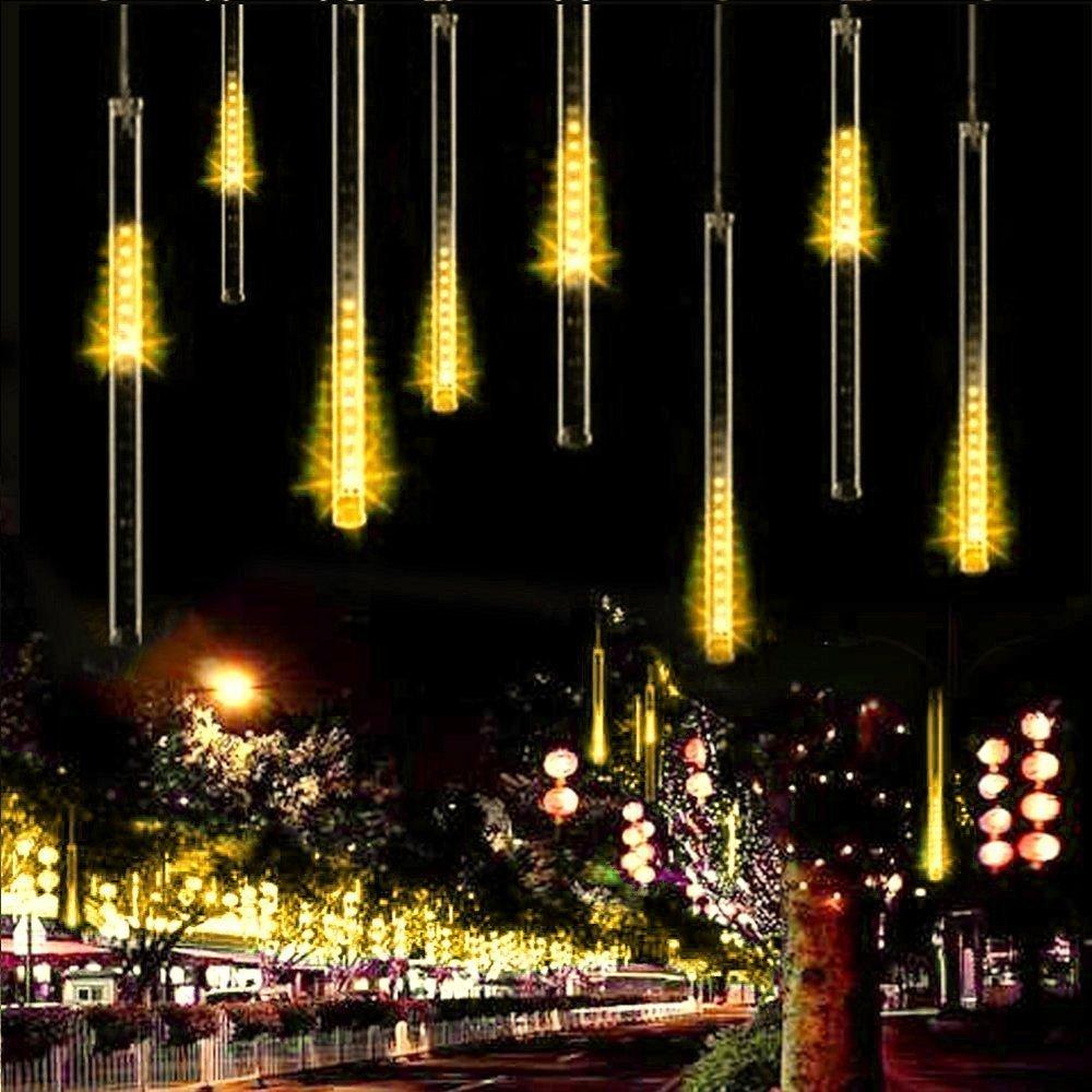 Warm White Luci di Pioggia EONANT 30cm 10 Tubes 360LEDs Luci di Caduta Solare Luci da Doccia di Meteore Luci di Caduta di Pioggia per Alberi Feste Decorazione di Casa di Nozze