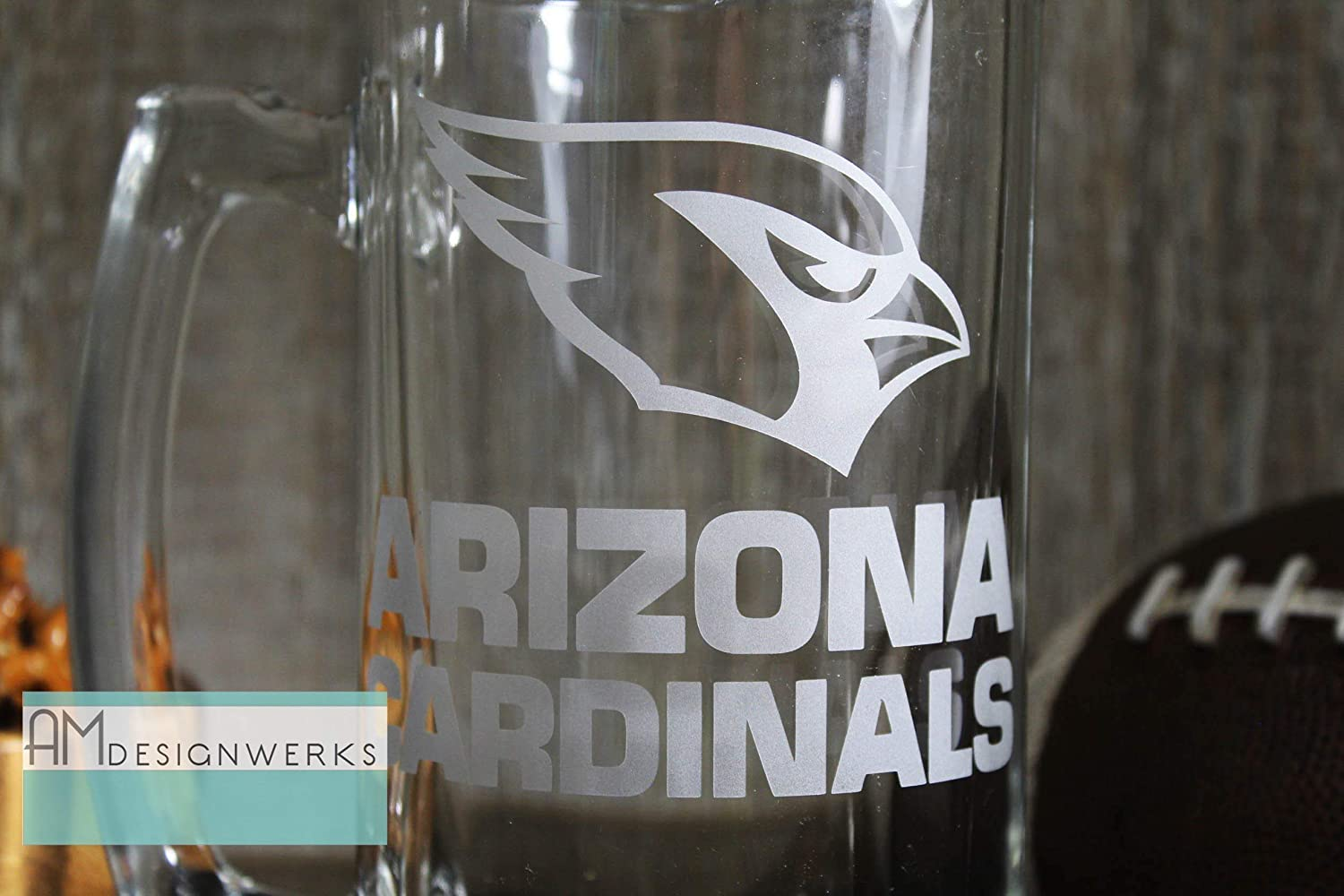 Arizona Cardinals Jumbo 28.5oz Hand Etched Glass Beer Mug