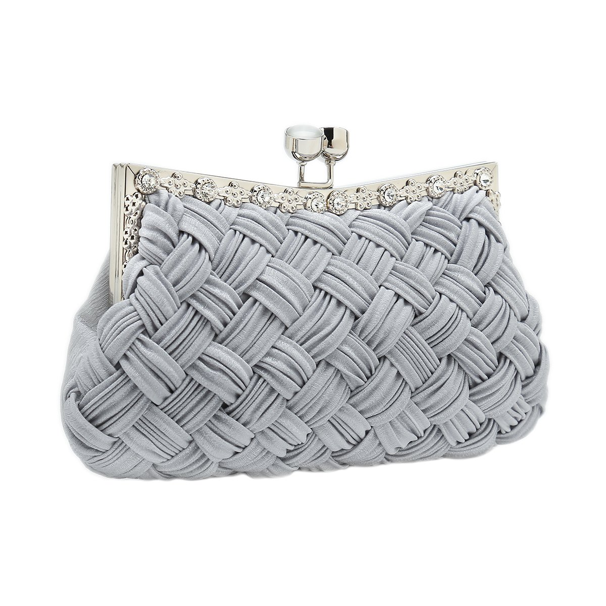 Charming Tailor Evening Bag Women Classic Clutch Woven Wedding Party Purse (Grey)