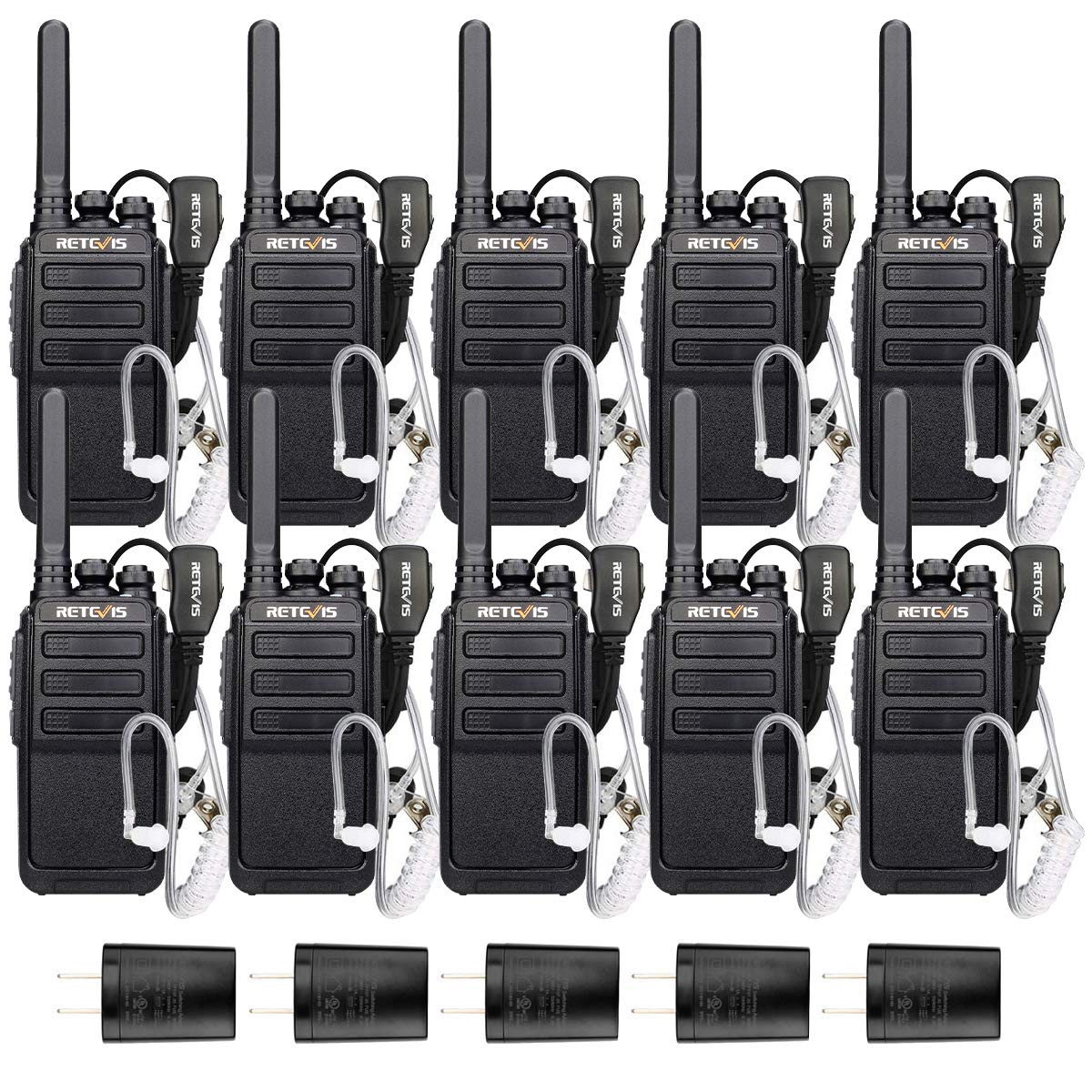Retevis RT28 Walkie-Talkies for Adults Two-Way Radios Long Range Rechargeable UHF Emergency Alarm VOX 2 Way Radios with Earpiece 2 Pin 10 Pack