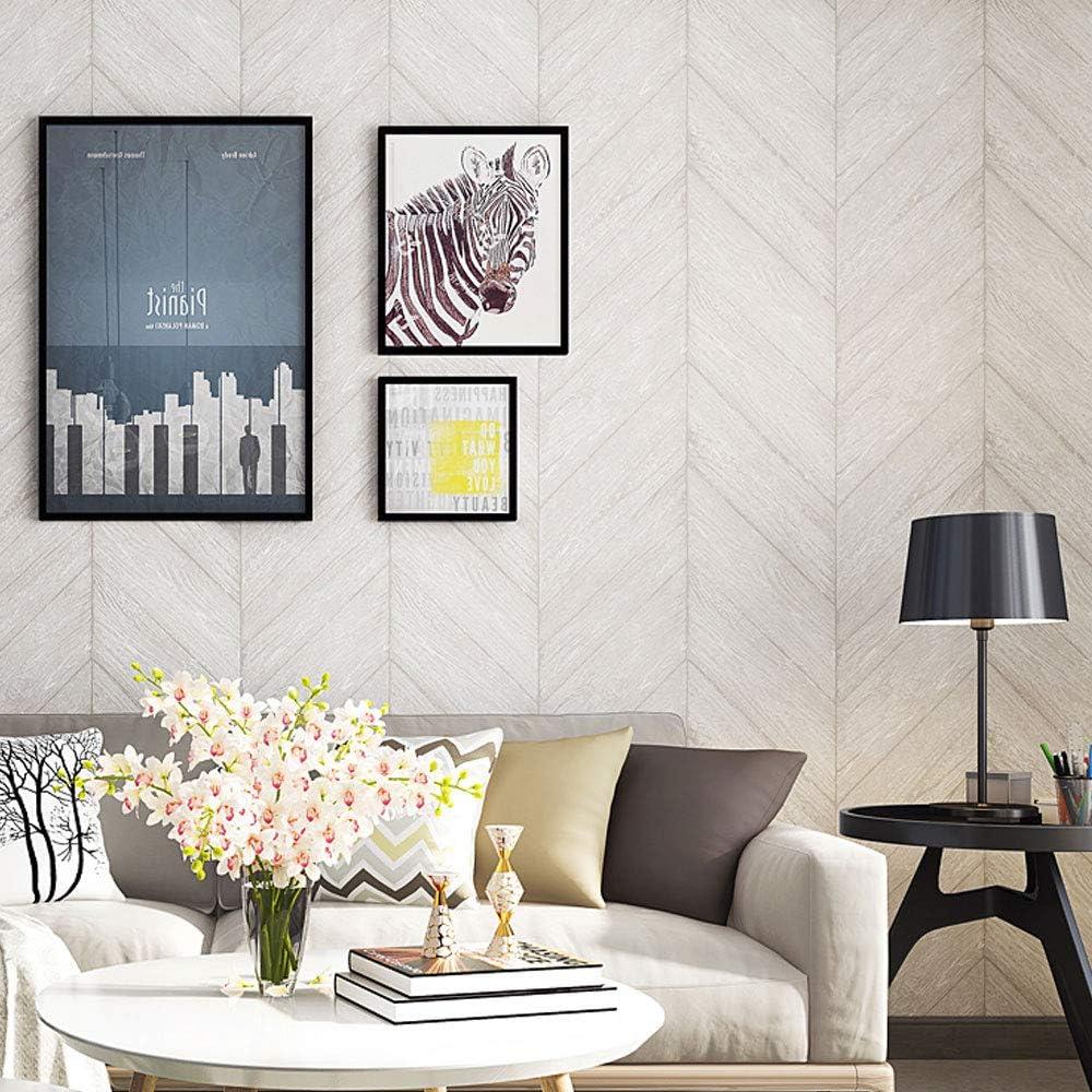 Amazon ヘリンボーンの木目調の壁紙モダンなミニマリストのベッドルームのリビングルームのソファーの背景の壁の不織布の壁紙 Color 白 壁紙