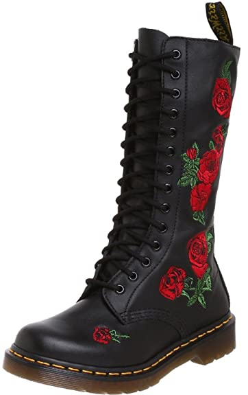 7ad3adf87ee Dr Martens Vonda Black Red 14 eyelets Leather Womens Boots -6 ...