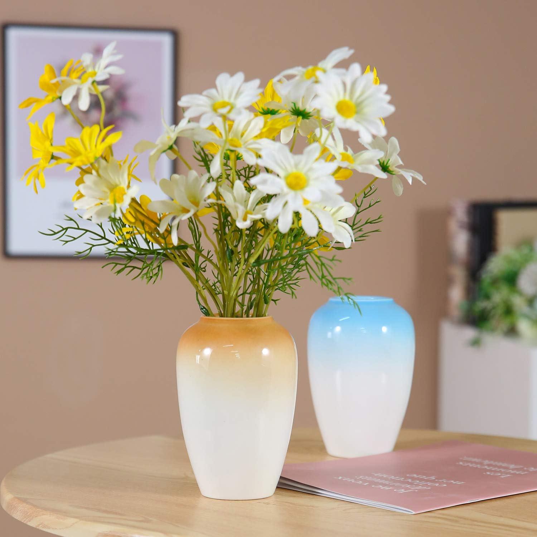 Amazon Com Dds Dudes Color Ceramic Vase Set Flower Vase Set Gradient Color Specially Designed For Home Decoration And Office Decoration Art Vase Set Of 2 Brown White And Blue White Kitchen Dining
