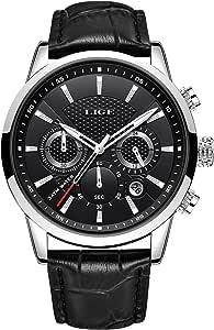 LIGE Reloj Hombre CronóGrafo Impermeable Cuarzo AnalóGico Acero Inoxidable Cuero Brazalete Diseño Calendario Reloj…