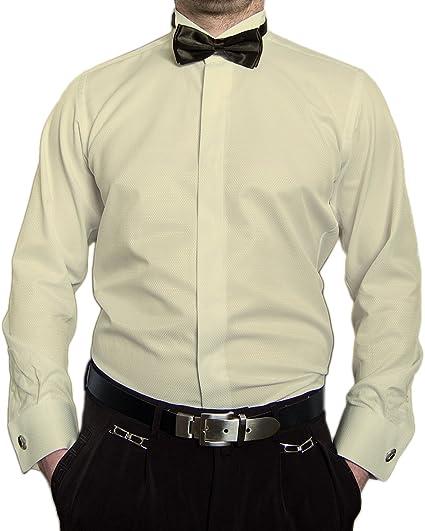 Paco Romano Designer Smoking Camisa Mosca Slim Fit Hombre Smoking Camisa Smoking Cuello Blanco Beige Manga Larga Entallada: Amazon.es: Ropa y accesorios