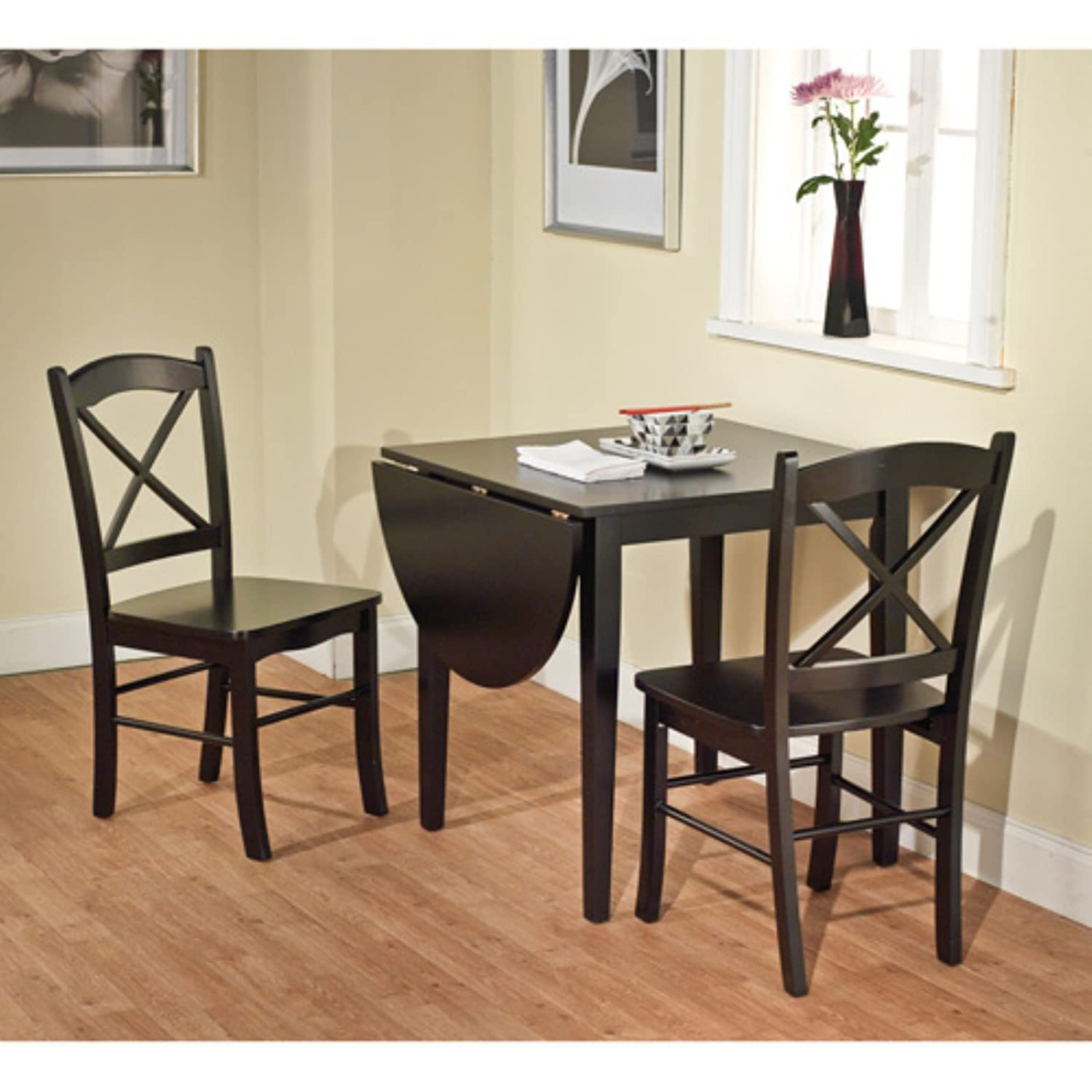 Amazon Tiffany 3 Piece Dining Set Finish Black Table