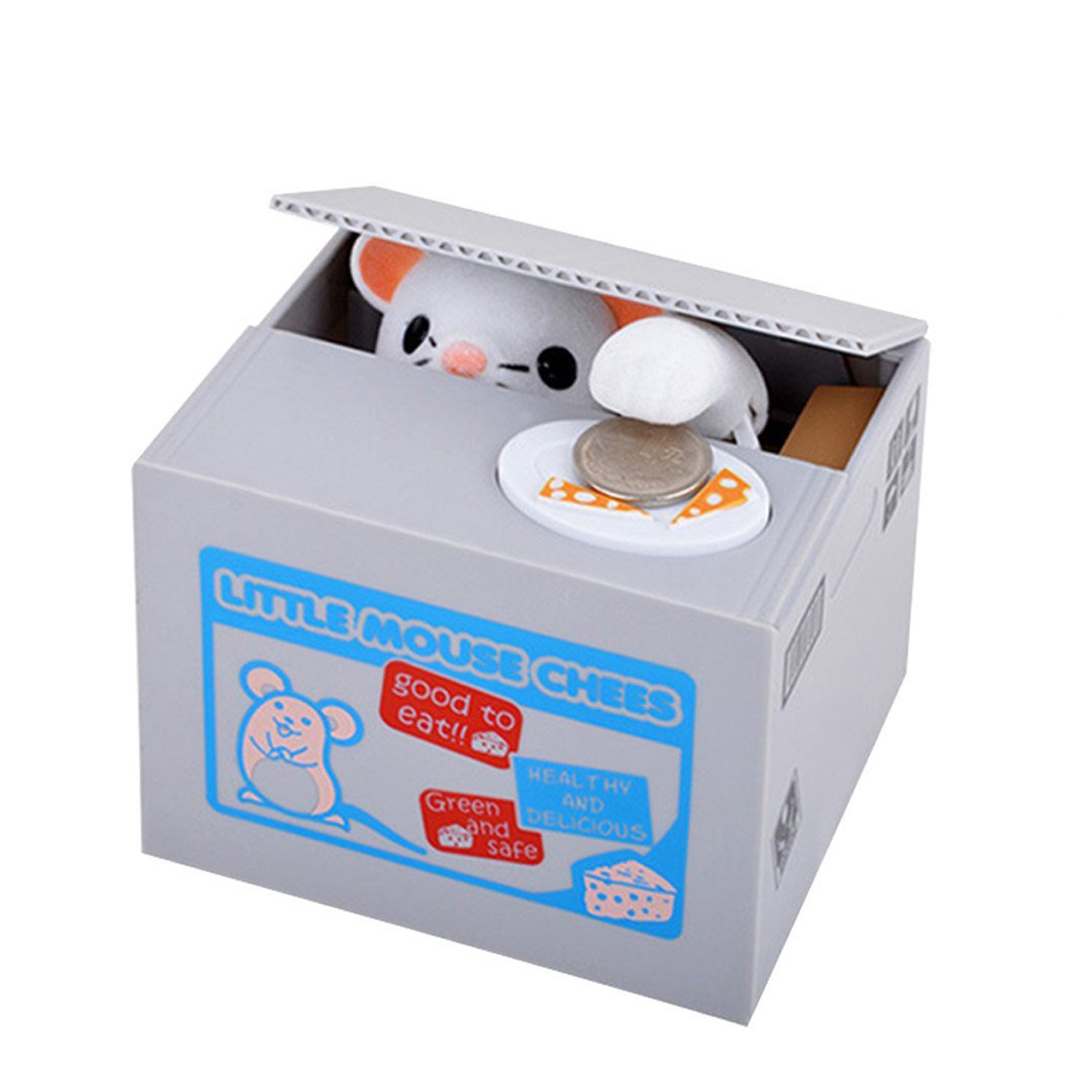 HmiL-U Money Banks Automatic Stealing Coin Cent Penny Cat Money Box With Voice Christmas/Birthday Gift for Kids Child (Grape-Cat)