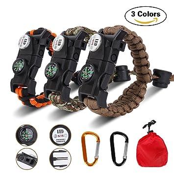 c8705beb1d 3個セット サバイバルブレスレット、Siying 多機能 登山 野外生存ブレスレット SOS LEDライト