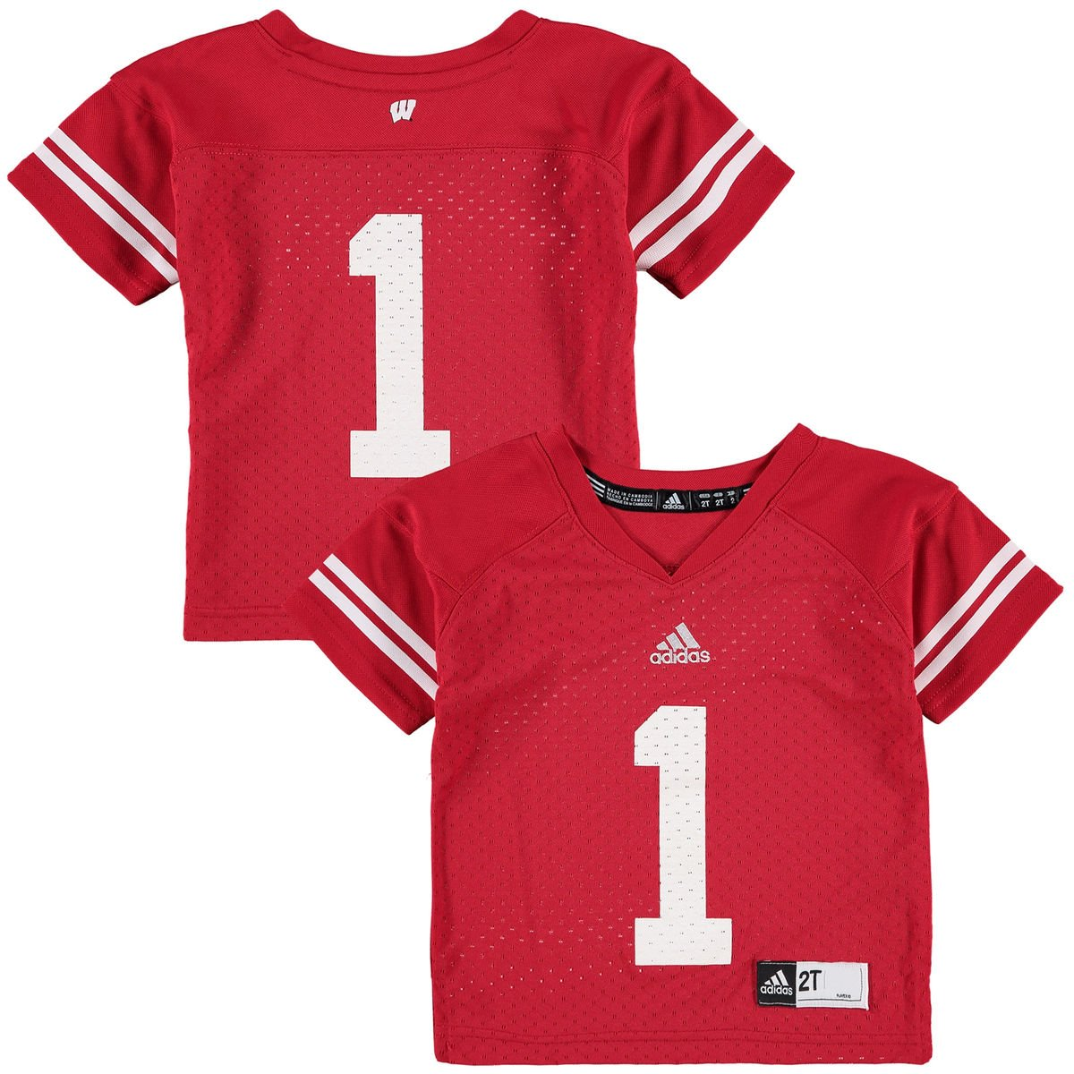 5684ea8ab1b5 Amazon.com   adidas Wisconsin Badgers Toddler Boys  1 Football Jersey - Red    Sports   Outdoors