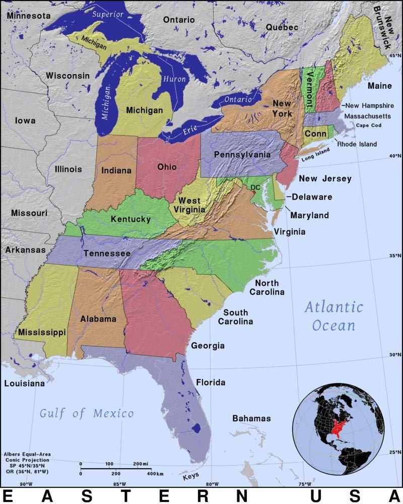Amazon.com: Home Comforts Laminated Map - Map USA Canada ...