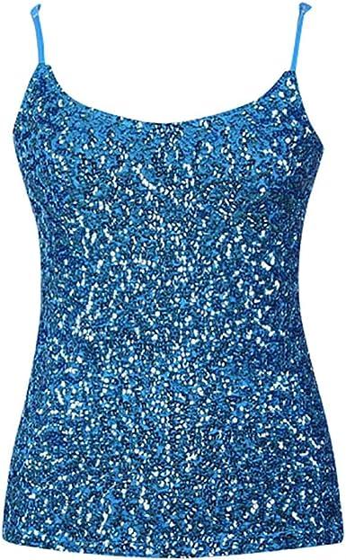 Camisetas sin Mangas Mujer,Lenfesh Mujeres Sexy Chaleco Camiseta de Lentejuelas con Tirantes Camisa Blusa Tops Camiseta con Tirantes: Amazon.es: Ropa y accesorios