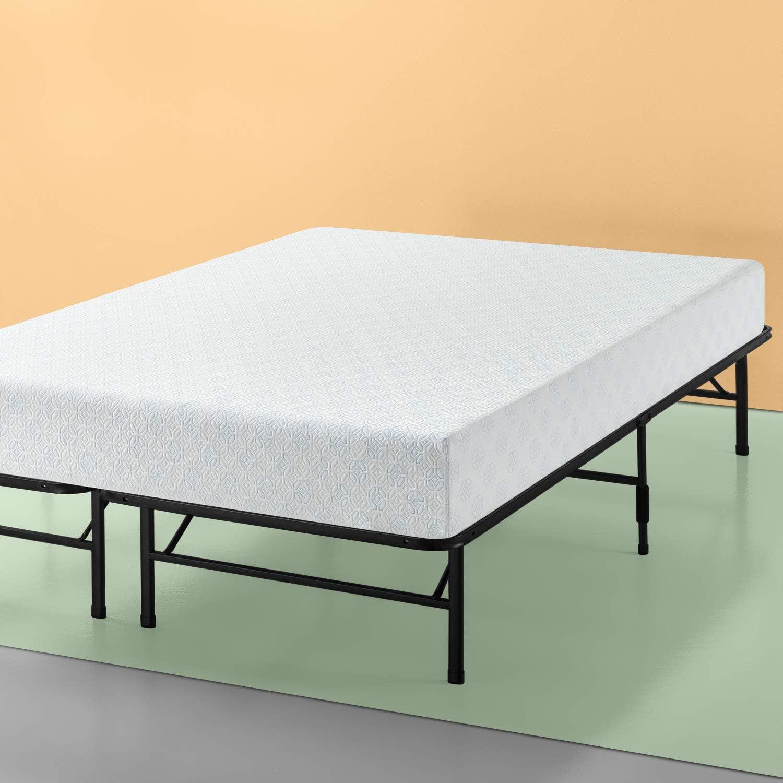 Zinus Set, King 12 Inch Gel-Infused Green Tea Memory Foam Mattress and Demetric SmartBase Platform Bed Frame / Mattress Foundation