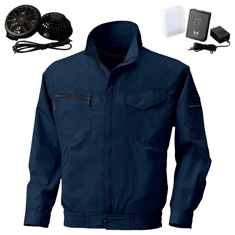 空調風神服サンエス長袖ジャケット(BK6087)+フラットファンレギュラーファンセット(RD9820R)+リチウムイオンバッテリー(RD9870J) セット販売 B07DTCD8FN 5L|56ネイビー 56ネイビー 5L