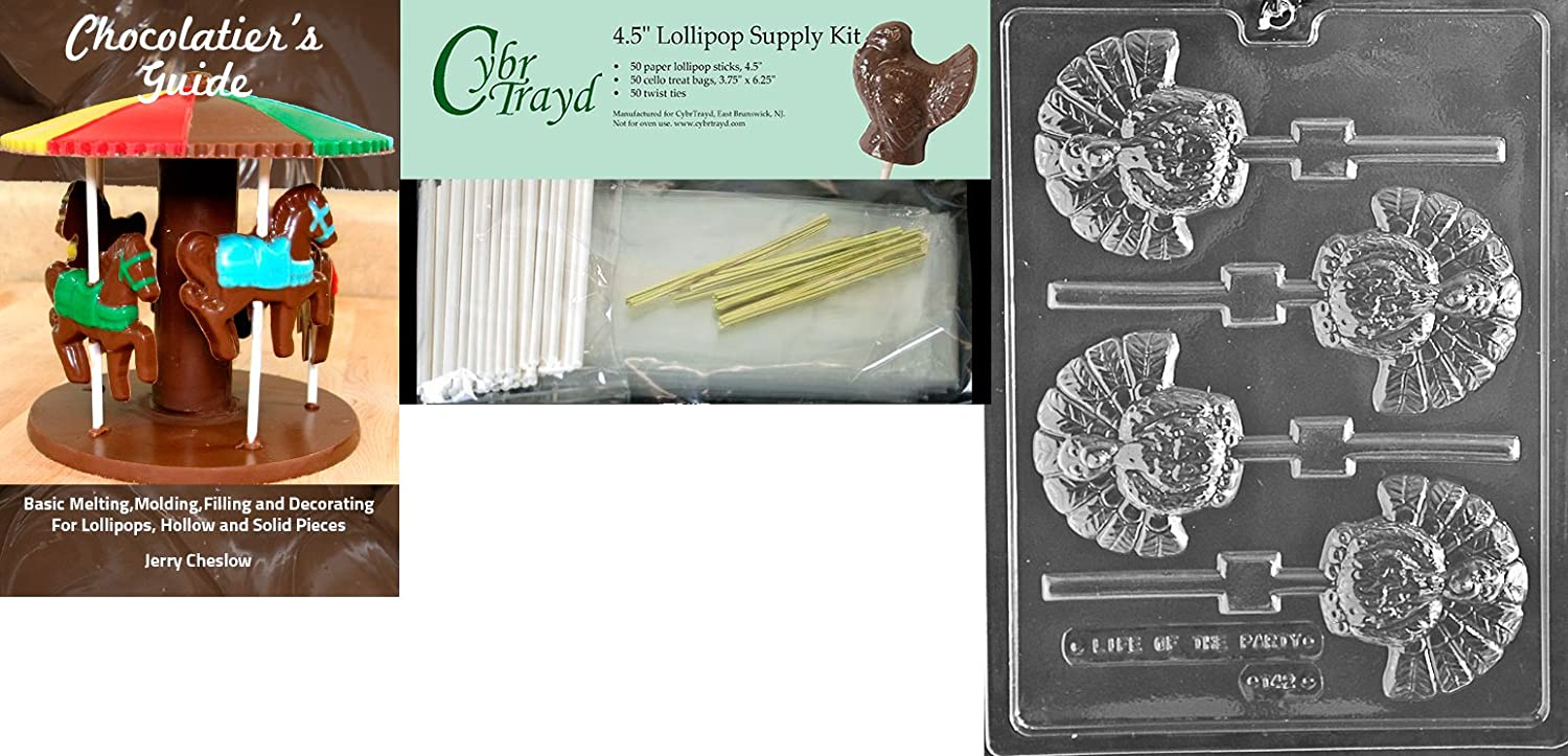 Includes 50 Cello Bags Cybrtrayd 45StK50T-T042 Turkey Lolly Thanksgiving Chocolate Mold with Chocolate Packaging Kit 50 Gold Twist Ties and Chocolate Molding Instructions