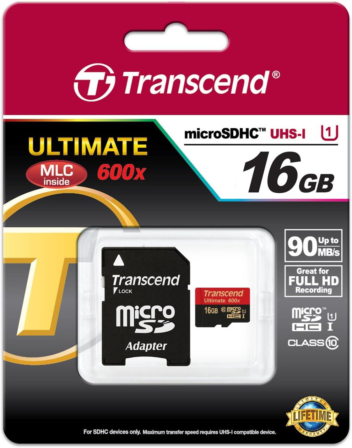 Transcend 8GB microSDXC//SDHC Class 10 UHS-I 600X Ultimate Memory Card