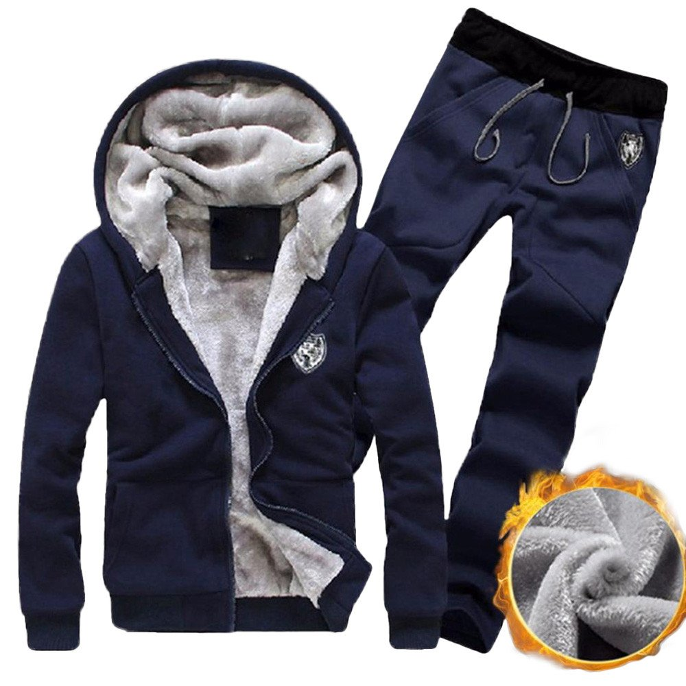 Hot Clearance! Daoroka Men's Athletic Tracksuit Set Warm Running Jogging Sportwear Sweat Suit Elastic Sports Set