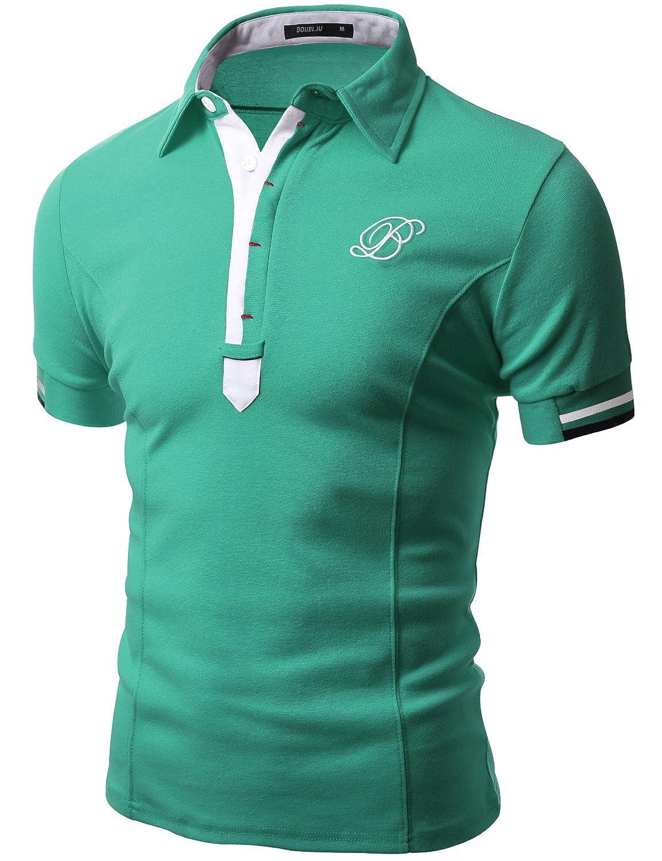 Doublju Mens Casual Short Sleeve Polo T-shirt 089D