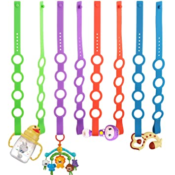Stretchable Silicone Pacifier Clips Baby Toddler Bottle Toy Harness Straps for Strollers High Chair 4PK Toy Safety Straps Shopping Trolley,Cars,Hanging Baskets,Cribs,Bags