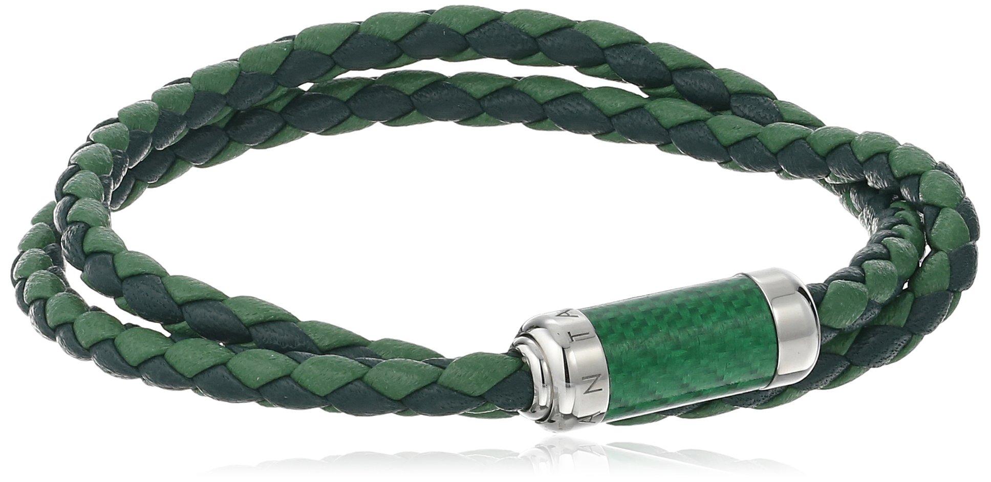 Tateossian Unisex Tateossian Unisex Silver Green Alutex Clasp Green Leather Medium 38cm Wrap Bracelet