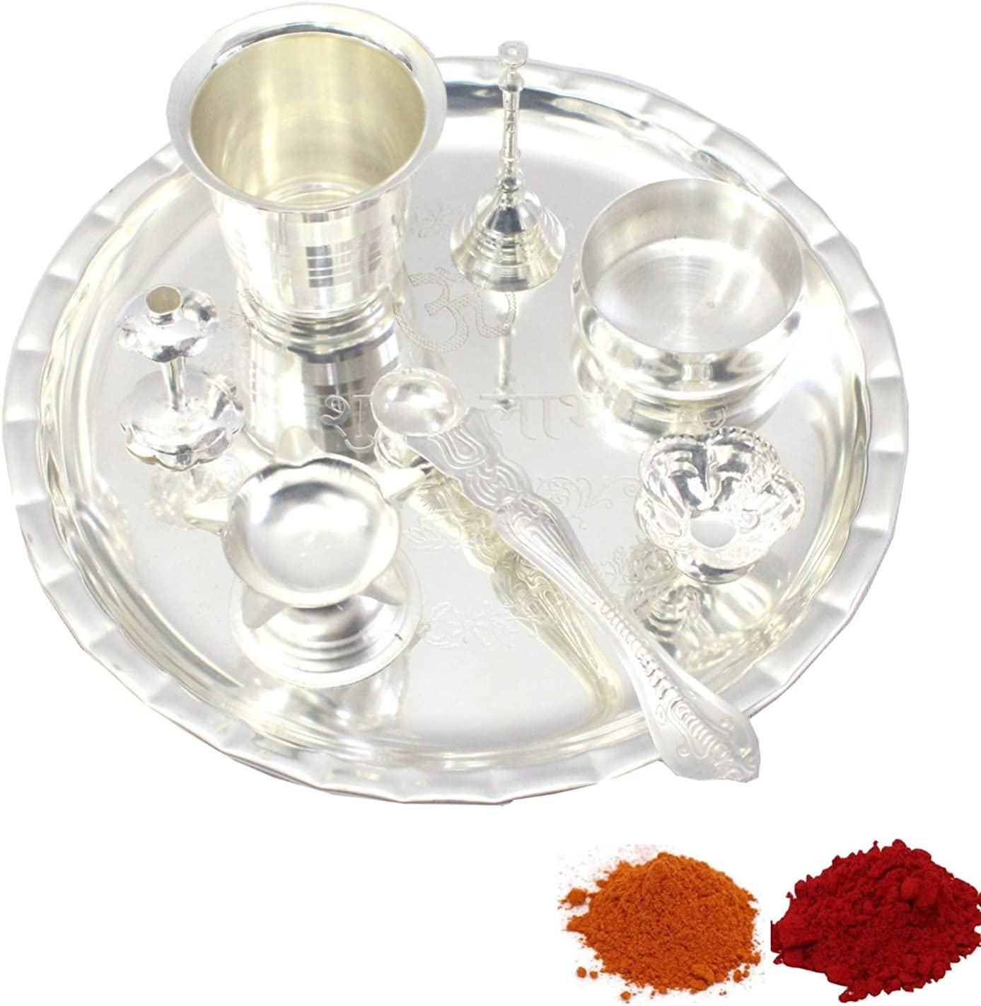NOBILITY Silver Plated Pooja thali Set 08 Inch for Festival Ethnic Puja Thali Gift for Diwali, Home, Temple, Office, Wedding Gift