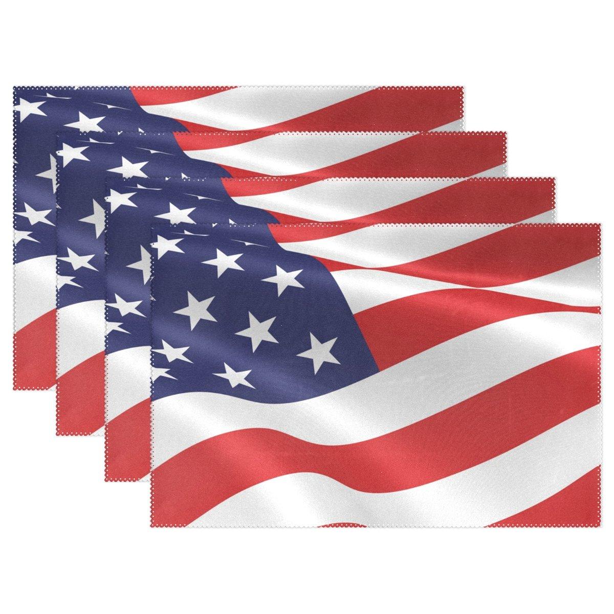 alireaアメリカ国旗ポリエステルテーブルPlaceマット、ダイニングルーム12