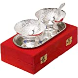 Urban Crafts India Silver Plated Brass Bowl for Diwali Anniversary - Set of 5 Pcs