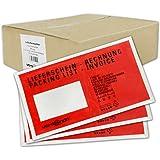 1000 Begleitpapiertaschen Lieferscheintaschen versando DIN lang DL 23x13cm rot/schwarz bedruckt mit Lieferschein/Rechnung