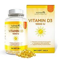 Vitamine D3 10,000 IU - 365 Gélules – Articulations, Os Et Dents En Bonne Santé - 1 An D'Approvisionnement