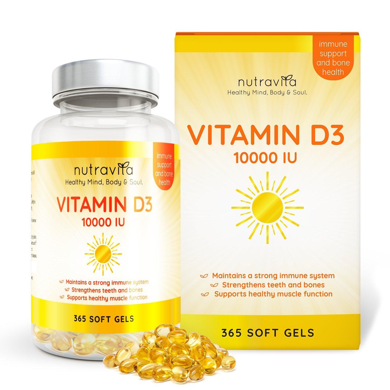 Vitamine D3 10,000 IU - 365 Gélules – Articulations, Os Et Dents En Bonne Santé - 1 An D'Approvisionnement product image