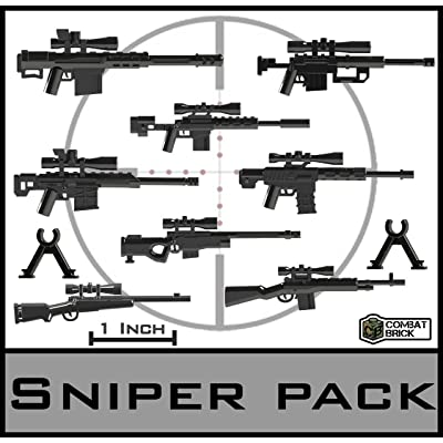"Sniper Rifles - Custom Army Brick Builder Toy Guns 1"" Scaled Pack Designed for Minifigures: Toys & Games"